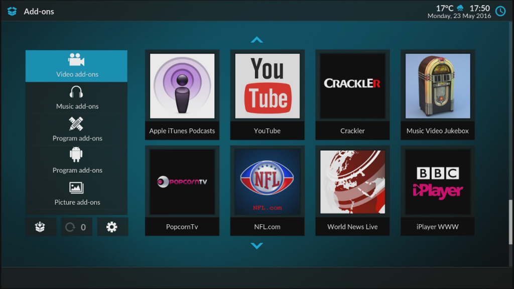 Kodi Jarvis 16 interface, Kodi Jarvis 16 Interface – New Look for Gostreamer